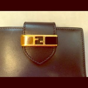 FENDI Black Leather Wallet with Gold Logo